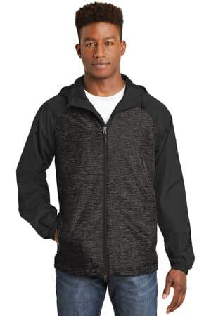 sport-tek heather colorblock raglan hooded wind jacket jst40