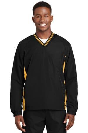 JST62 sport-tek tipped v-neck raglan wind shirt jst62