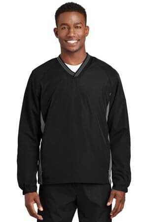 JST62 sport-tek tipped v-neck raglan wind shirt