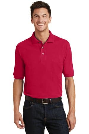 port authority heavyweight cotton pique polo with pocket k420p