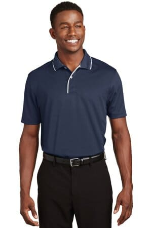 K467 sport-tek dri-mesh polo with tipped collar and piping