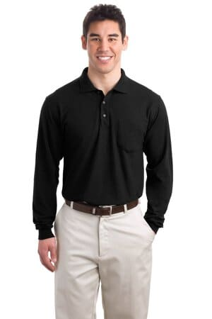 K500LSP port authority long sleeve silk touch polo with pocket