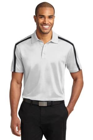 K547 port authority silk touch performance colorblock stripe polo