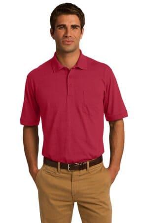 port & company core blend jersey knit pocket polo kp55p