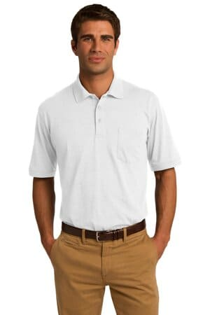 port & company core blend jersey knit pocket polo kp55p