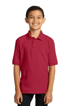 KP55Y port & company youth core blend jersey knit polo