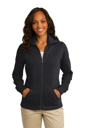 L293 port authority ladies slub fleece full-zip jacket