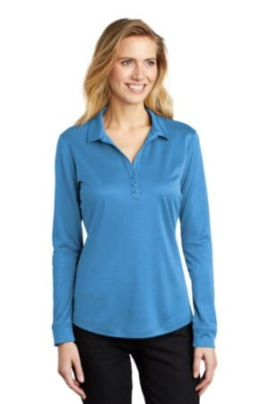 port authority ladies silk touch performance long sleeve polo l540ls