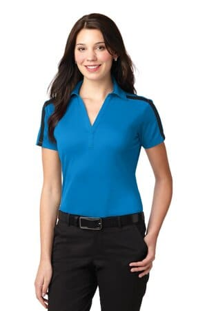L547 port authority ladies silk touch performance colorblock stripe polo