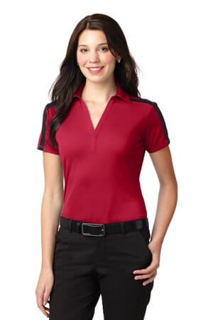 port authority ladies silk touch performance colorblock stripe polo l547