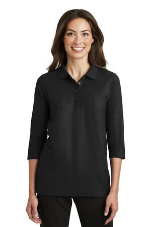 L562 port authority ladies silk touch 3/4-sleeve polo
