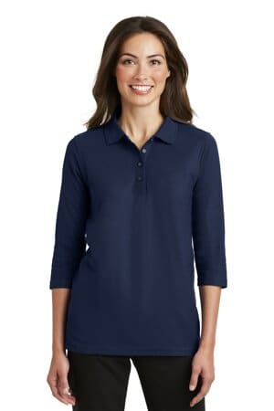 port authority ladies silk touch 3/4-sleeve polo l562