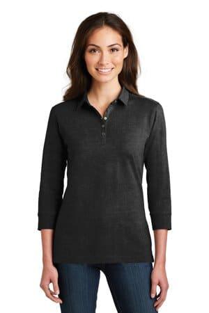 port authority ladies 3/4-sleeve meridian cotton blend polo l578