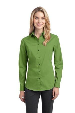 L646 port authority ladies stretch poplin shirt l646
