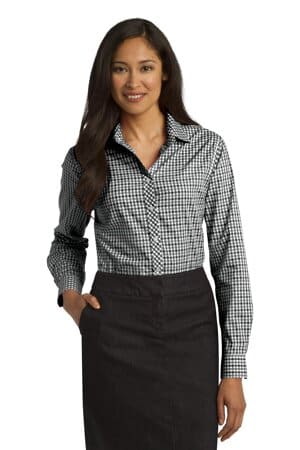 port authority ladies long sleeve gingham easy care shirt l654