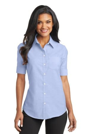 port authority ladies short sleeve superpro oxford shirt l659