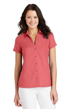 L662 port authority ladies textured camp shirt