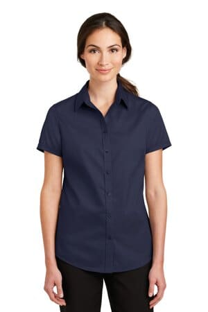 port authority ladies short sleeve superpro twill shirt l664