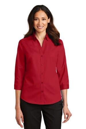 port authority ladies 3/4-sleeve superpro twill shirt l665