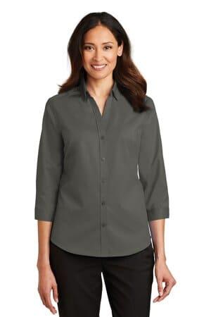 L665 port authority ladies 3/4-sleeve superpro twill shirt