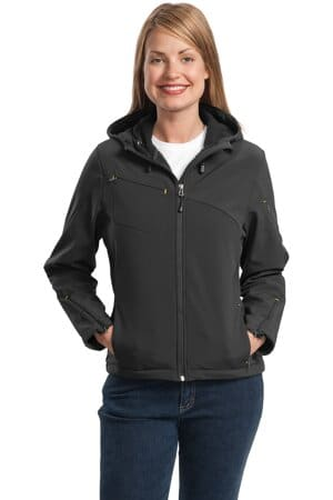 port authority ladies textured hooded soft shell jacket l706