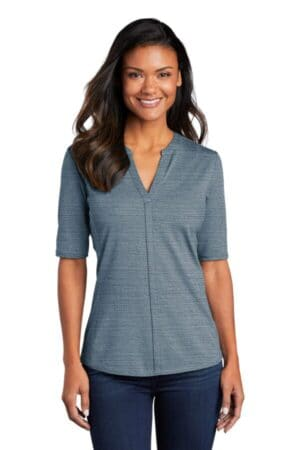 port authority ladies stretch heather open neck top lk583