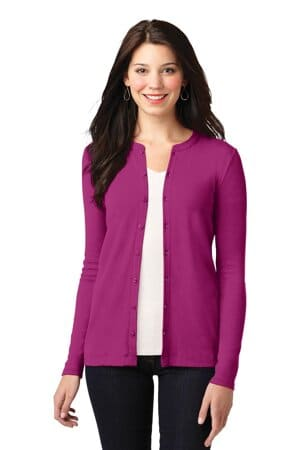 port authority ladies concept stretch button-front cardigan lm1008