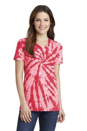 LPC147V port & company ladies tie-dye v-neck tee lpc147v