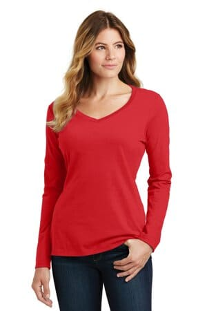 port & company ladies long sleeve fan favorite v-neck tee lpc450vls