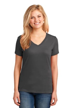port & company ladies core cotton v-neck tee lpc54v