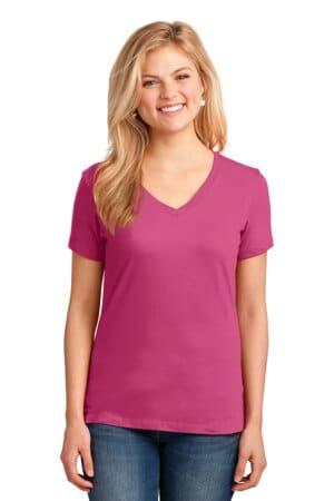 port & company ladies core cotton v-neck tee lpc54v