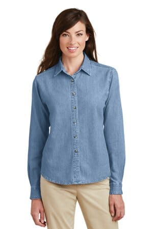 port & company-ladies long sleeve value denim shirt lsp10