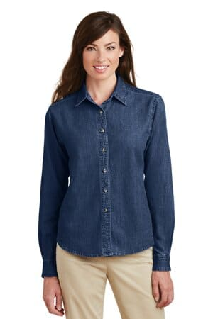 port & company-ladies long sleeve value denim shirt lsp10