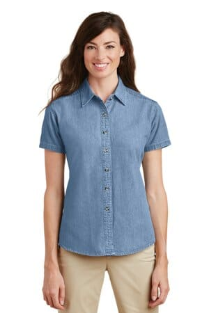 port & company-ladies short sleeve value denim shirt lsp11