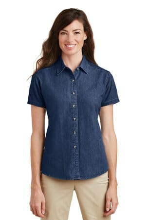 port & company-ladies short sleeve value denim shirt lsp11