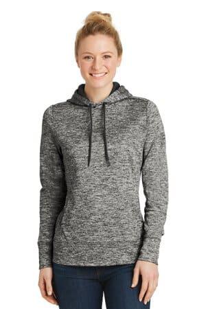 sport-tek ladies posicharge electric heather fleece hooded pullover lst225