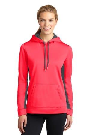 LST235 sport-tek ladies sport-wick fleece colorblock hooded pullover