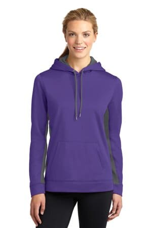 sport-tek ladies sport-wick fleece colorblock hooded pullover lst235