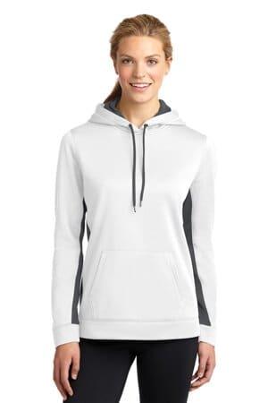 sport-tek ladies sport-wick fleece colorblock hooded pullover lst235