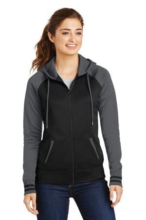 sport-tek ladies sport-wick varsity fleece full-zip hooded jacket lst236