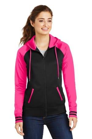 sport-tek ladies sport-wick varsity fleece full-zip hooded jacket lst236