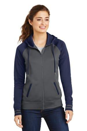 LST236 sport-tek ladies sport-wick varsity fleece full-zip hooded jacket