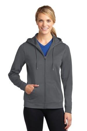 sport-tek ladies sport-wick fleece full-zip hooded jacket lst238
