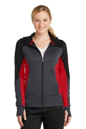 sport-tek ladies tech fleece colorblock full-zip hooded jacket lst245