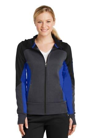 sport-tek ladies tech fleece colorblock full-zip hooded jacket lst245