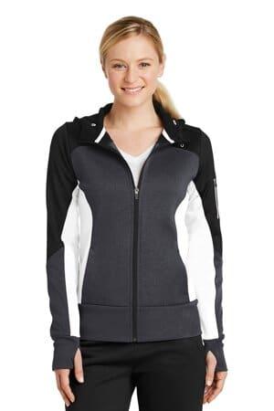 LST245 sport-tek ladies tech fleece colorblock full-zip hooded jacket