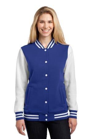 LST270 sport-tek ladies fleece letterman jacket lst270
