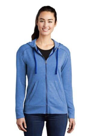 LST293 sport-tek ladies posicharge tri-blend wicking fleece full-zip hooded jacket