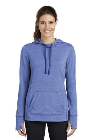 sport-tek ladies posicharge tri-blend wicking fleece hooded pullover lst296