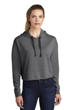 sport-tek ladies posicharge tri-blend wicking fleece crop hooded pullover lst298